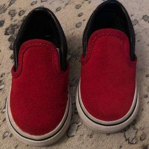 Red Suede Slip On Vans